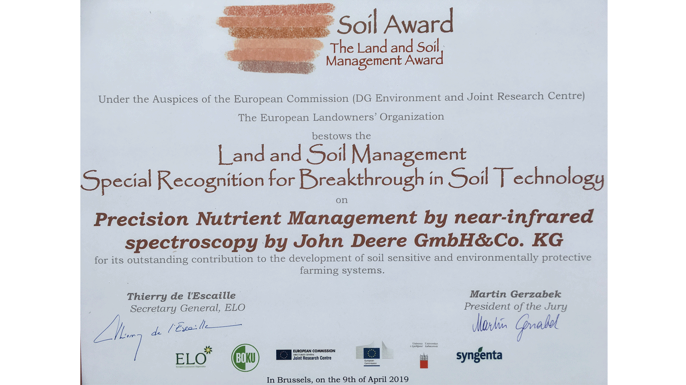 John Deere receives recognition for soil management